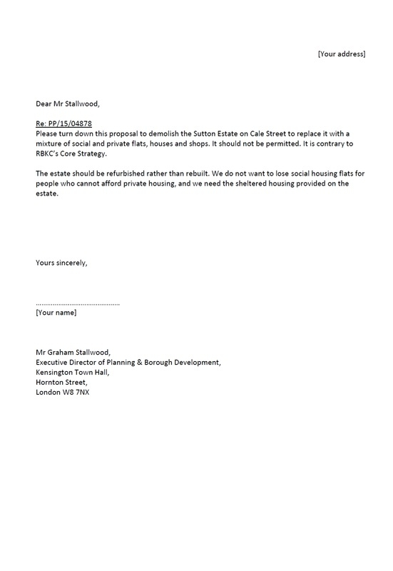 Save The Sutton estate example letter